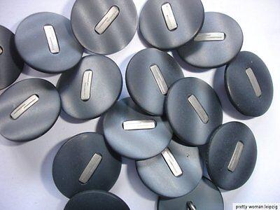 10 Knöpfe grau, silberfarben Annähöse 15mm Z46.3