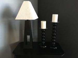 Black lamp with white shade/2 candle holders