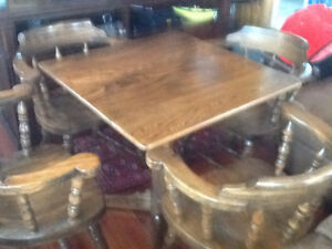 Solid Oak Games Table and Chairs