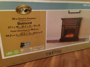"38"" HAMPTON BAY ELECTRIC WOODEN FIREPLACE"