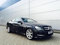 2011 11 reg Mercedes-Benz C250 CDI AMG Sport Coupe + BLACK + CREAM LEATHER + BIG