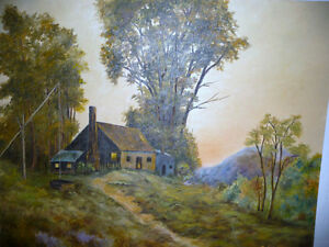 """Vintage Cabin on a Hill by G. Eastman """"Homestead"""" Oil Painting Stratford Kitchener Area image 5"""