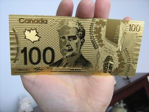 billet de 100 dollars canada canadien or 24 karats pur 9999