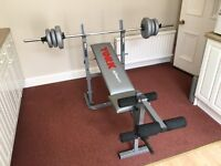 York Weights Bench & Large Barbell