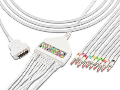 Ge 2029893-001 Compatible One-piece Ecg Ekg Machine Cable Aha 10 Lead Banana