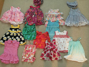 Large box of assorted baby girls clothes 9-12 mths and 12 mths