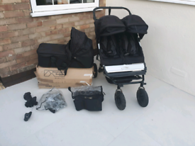 Mountain Buggy Duet with Carry Cot and raincovers