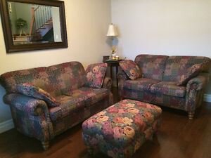 Set of 2 Love Seats with matching ottoman and pillows