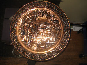 Coppercraft guild mid century-Vtg USA made Large wall plate London Ontario image 1