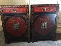 Pair bedside cabinets tables with oriental design