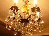 "Superbe lustre vintage style LouisXVI,16x42"" bronze cristal ange"