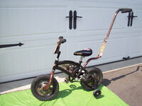 "BOYS BROWN "" Disney ""BICYCLE WITH TRAINING WHEELS"