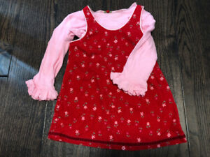 Red Dress + Pink Long Sleeve Shirt Set Sz 18mths
