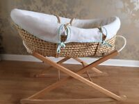 Wicker Moses Basket on Rocking Stand
