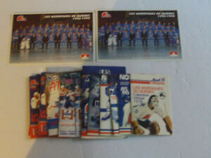 LOT DE SCHEDULES DE HOCKEY VINTAGE DES NORDIQUES DE QUEBEC