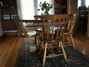 Old farmer's solid wood kitchen table and chairs