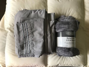 Brand new queen sized grey bamboo sheets with grey throw