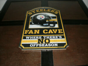 Pittsburgh Steelers Man cave sign and Christmas stocking
