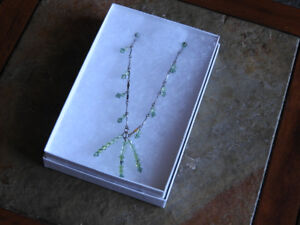 BRAND NEW green necklace (dainty) great gift idea - comes w/box