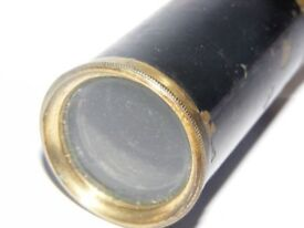 antique vintage old collectible Brass and Wood Veneer 3 Tier 2 draw miniature pocket telescope c1900