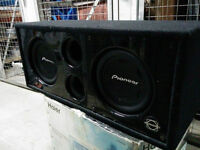 """Dual 10"""" Pioneer Subs for sale with Piano Black Bassworxs Subbox"""