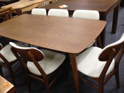 new retro replica 7 piece dining set setting table and chairs richmond