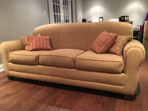 Suede Fabric Rowe Sofa, Ottoman and Chair