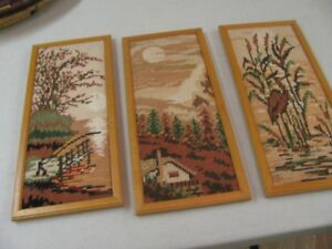 3 Hand Crafted Material Picture, Fishing, Sun Set, Bird $1 each