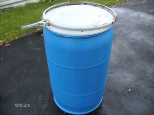 Large Blue Plastic Barrel with Watertight Cover