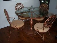Elegant Glass Top Round Table with 4 Chairs