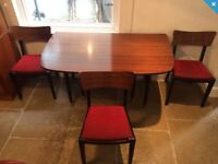 Vintage Mid-Century G Plan Tola & Black Dining Table and 3 Chairs 50s / 60.