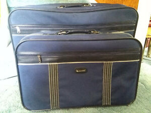 2 piece Vintage blue suitcase set