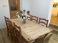 Solid pine 8 seater table