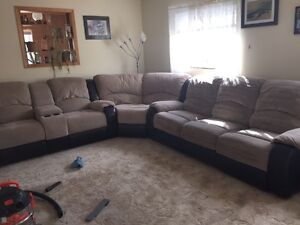 Micro fibre/leather Couch and Matching Chait