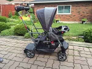 Baby Trend sit & stand double stroller + rain cover London Ontario image 2