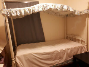 Canopy Twin Bed without Box Spring & Mattress