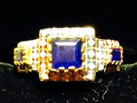 STUNNING SAPPHIRES AND DIAMONDS 14K GOLD RING
