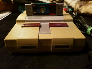 Super nintendo with mario world