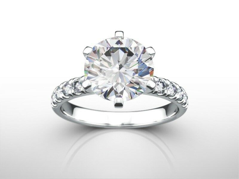 3 Ct Round  E/vvs2 Enhanced Diamond Natural Engagement Ring  White Gold Xmas