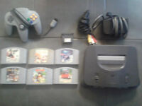 CONSOLE NINTENDO 64 + 1 MANETTE + 6 JEUX + MEMORY CARD + FILAGES