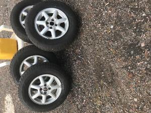 Winter tires and aluminum rims