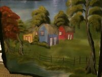 Beautiful ORIGINAL Hand Painting of 3 Huts In A Field!!