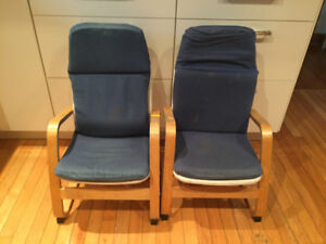 2 CHILDREN'S WOODEN IKEA CHAIRS with COVER