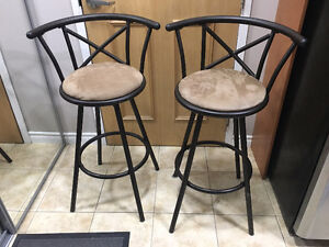 Bar Stools - Metal and Suede