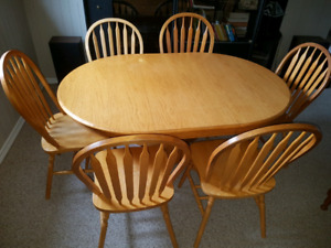 Solid Oak Dining Set with six chairs.