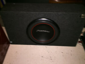 Double din Sony amp and 10 sub with box