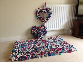 Rug with matching heart shaped cushion and heart wall hanger