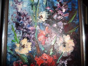 "2 Still Lifes, Oils, by Willem Reinders ""Flowers in a Vase"" 1951 Stratford Kitchener Area image 7"
