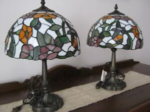 Two beautiful stain-glass Tiffany Table Lamps with hummingbirds