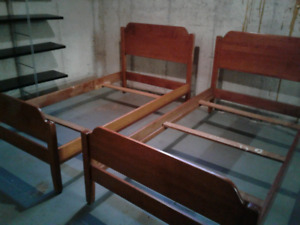 Antique twin beds.  Solid maple.